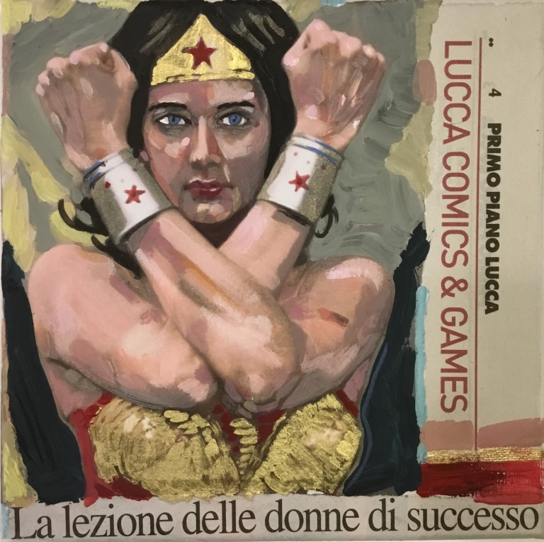 La lezione delle donne, 2019 – t.m. su tela, 20x20cm