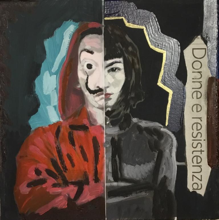 Donne e resistenza, 2019 – t.m. su tela, 20x20cm